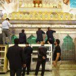 المباشرة بأعمال صيانة الجزء العلوي من ضريح الإمامين الجوادين عليهما السلام وإعادة تذهيبه (صور)